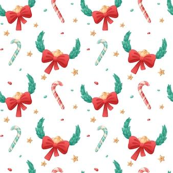 Padrão sem emenda de ícones isolados de natal em um fundo branco. símbolos de férias de inverno. guirlanda de folhas e bastão de doces com um laço