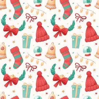 Padrão sem emenda de ícones isolados de natal em um fundo branco. símbolos de férias de inverno. ilustração para papel de embrulho, decorações, têxteis.