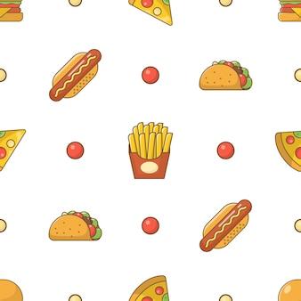 Padrão sem emenda de ícones lisos de fast food em fundo branco