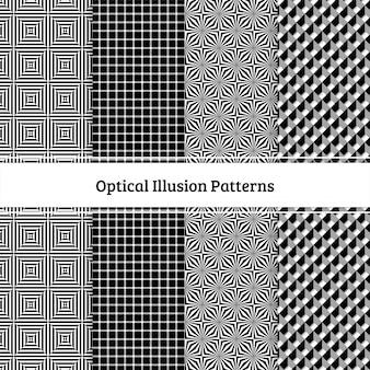 Padrão sem emenda de ilusões ópticas conjunto preto e branco
