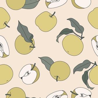 Padrão sem emenda de ilustração com maçã verde.