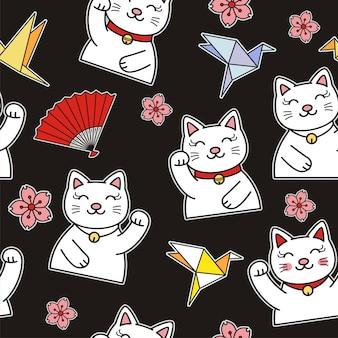Padrão sem emenda de ilustração de gato fofo