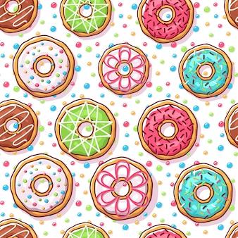 Padrão sem emenda de ilustração de rosquinhas coloridas