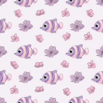 Padrão sem emenda de ilustração de vetor de flor de peixe