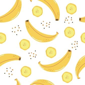 Padrão sem emenda de ilustração plana de bananas amarelas fofas desenhadas à mão