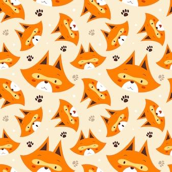 Padrão sem emenda de ilustração vetorial com fox rosto