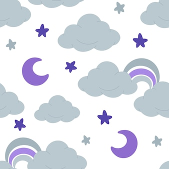 Padrão sem emenda de imagens planas com nuvens, estrelas da lua e arco-íris