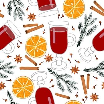 Padrão sem emenda de ingredientes de vinho quente bebida quente de inverno com especiarias receita de vinho quente