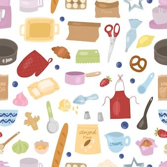 Padrão sem emenda de ingredientes e ferramentas de cozimento de desenhos animados: batedeira, batedeira, ovos, farinha, fermento em pó, rolo de massa etc. prepare os ingredientes de cozimento. ilustração em vetor mão desenhada dos desenhos animados.