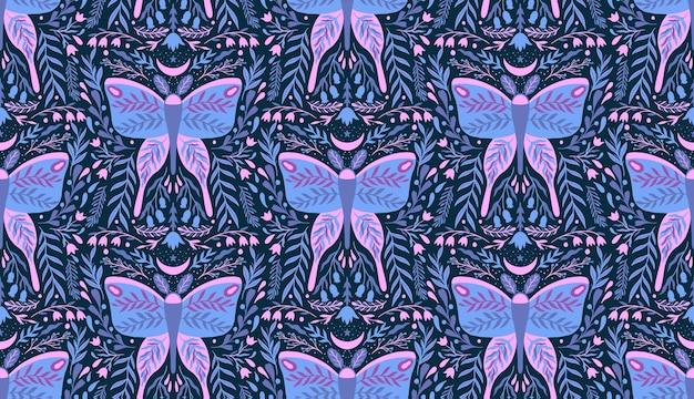 Padrão sem emenda de inseto floral de flor e mariposa