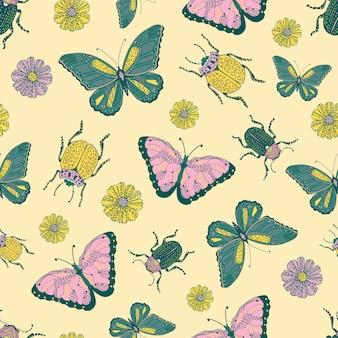 Padrão sem emenda de insetos e flores. plano de fundo feliz e colorido. os objetos são isolados.