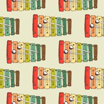Padrão sem emenda de instrumento musical. abstrato de papel de parede colorido, plano