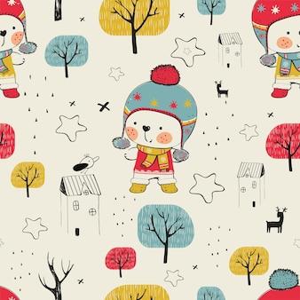 Padrão sem emenda de inverno com lindo urso de pelúcia na floresta desenhado à mão pode ser usado para camisetas
