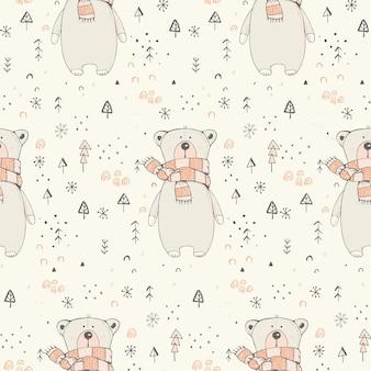 Padrão sem emenda de inverno com urso de pelúcia fofo ilustração vetorial desenhada à mão padrão de floresta