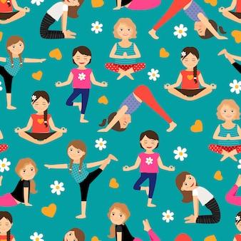 Padrão sem emenda de ioga de meninas dos desenhos animados