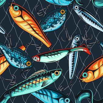 Padrão sem emenda de iscas de pesca coloridas em estilo vintage