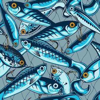 Padrão sem emenda de iscas e iscas de pesca com acessórios artificiais de pescador em ilustração de estilo vintage