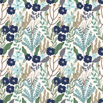 Padrão sem emenda de jardim floral folhas azul verde