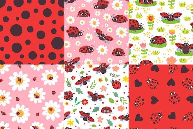 Padrão sem emenda de joaninha de desenhos animados. textura de joaninha, joaninhas em flores e conjunto de ilustração de bug vermelho bonito.