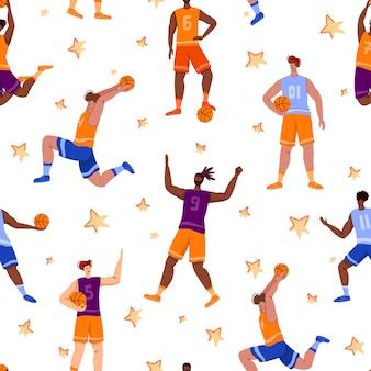 Padrão sem emenda de jogadores de basquete - pessoas musculares com bola correr e pular, esporte equipe traning