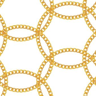 Padrão sem emenda de jóias de corrente de ouro