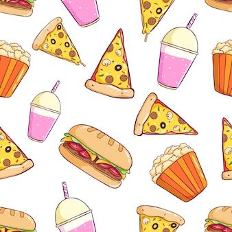 Padrão sem emenda de junk food com estilo colorido doodle