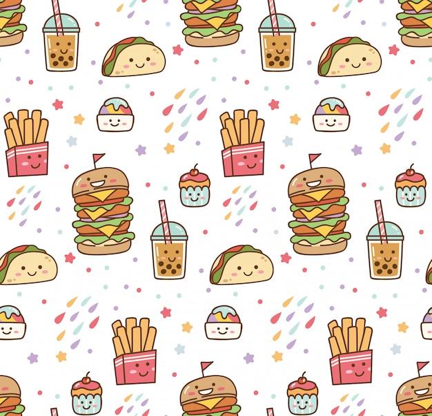 Padrão sem emenda de kawaii de junk food de desenhos animados