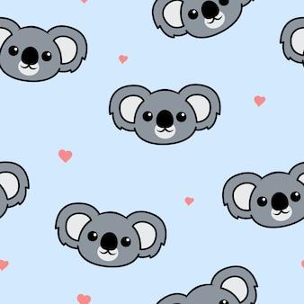 Padrão sem emenda de koala bonito cara dos desenhos animados