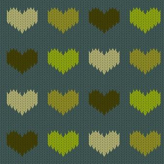 Padrão sem emenda de lã tricotado com corações