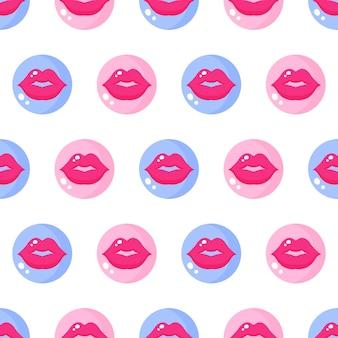 Padrão sem emenda de lábios e beijos em círculos rosa e azuis