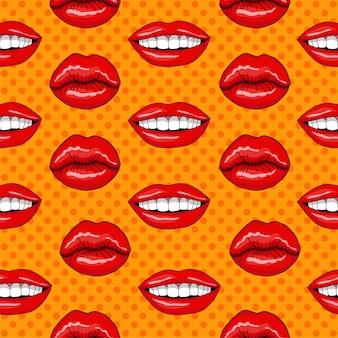 Padrão sem emenda de lábios em estilo retro pop art