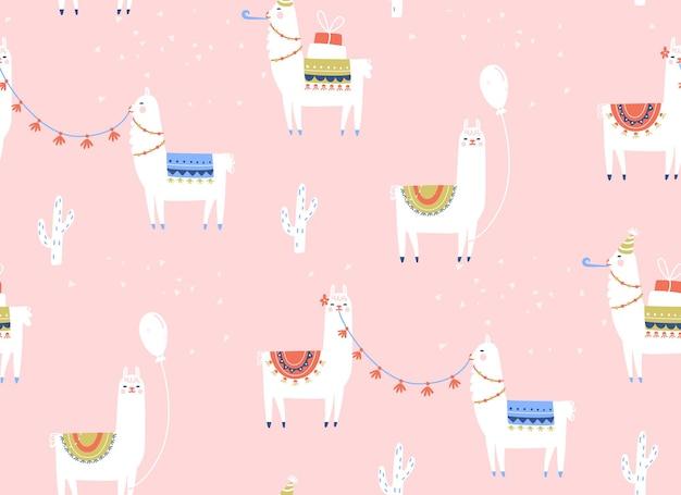 Padrão sem emenda de lama festa de aniversário com balões de alpacas de desenhos animados e presentes crianças fundo rosa