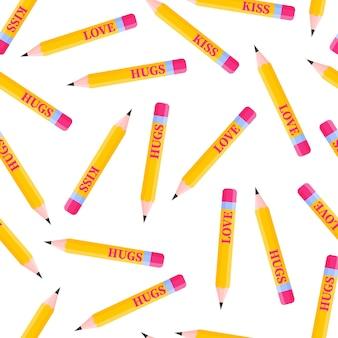 Padrão sem emenda de lápis simples com inscrições para o casamento ou dia dos namorados.