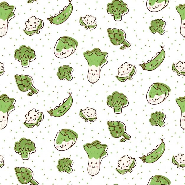 Padrão sem emenda de legumes bonitos em estilo de doodle kawaii