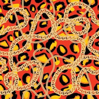 Padrão sem emenda de leopardo com corrente dourada