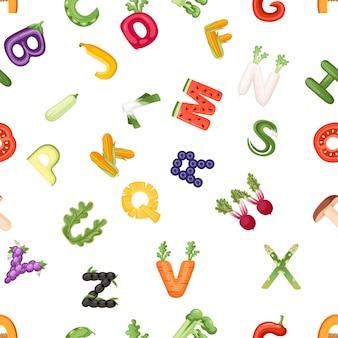 Padrão sem emenda de letras vegetais comida estilo cartoon vegetal design plano ilustração vetorial no fundo branco.