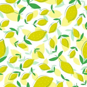 Padrão sem emenda de limão com folhas. padrão sem emenda com coleção de frutas cítricas.