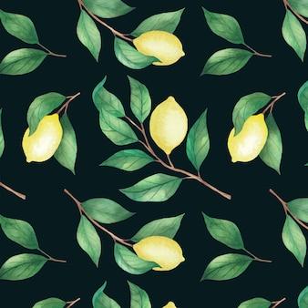 Padrão sem emenda de limão com folhas pintadas por aquarela.