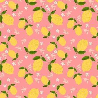 Padrão sem emenda de limão fresco de verão