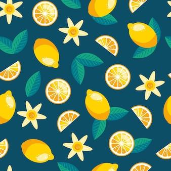 Padrão sem emenda de limão. fundo de verão na moda. impressão brilhante de vetor para tecido ou papel de parede.