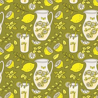 Padrão sem emenda de limonada refrescante