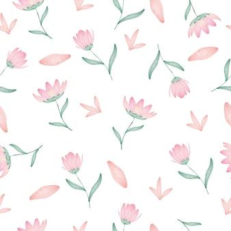 Padrão sem emenda de linda flor aquarela