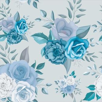 Padrão sem emenda de linda flor azul