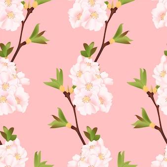 Padrão sem emenda de linda flor de cerejeira