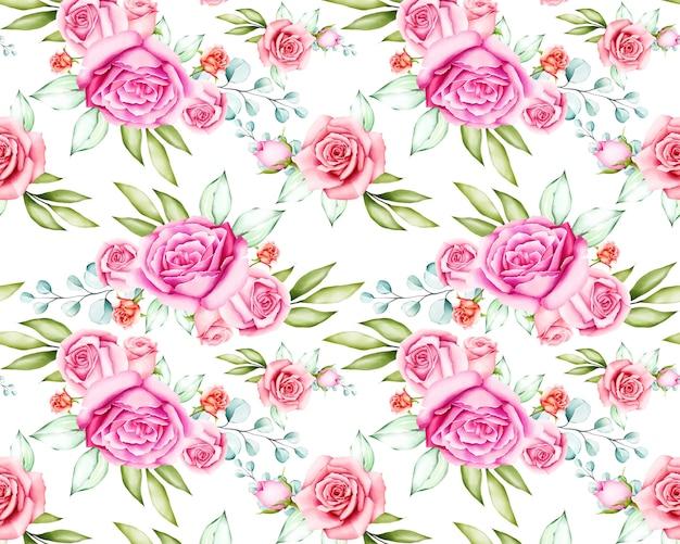 Padrão sem emenda de linda flor rosa