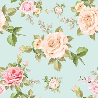 Padrão sem emenda de lindas rosas cor de rosa e brancas