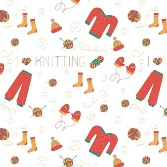 Padrão sem emenda de linha de mão de tricô em estilo doodle para uma loja de fios ou alfaiate.