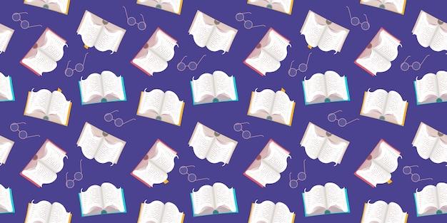 Padrão sem emenda de livros com capas coloridas e óculos em um fundo branco