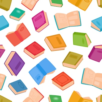 Padrão sem emenda de livros diferentes. ilustração de livros de cor dos desenhos animados isolados no branco. cor de fundo para plano de fundo, páginas da web, têxteis ou design de interiores.