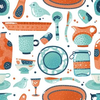 Padrão sem emenda de louças. casa aquarela cozinha e utensílios de mesa tigela prato copo cerâmico jarro fundo
